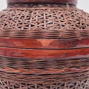 Chinese Export Accents - Hand Woven Wicker Basket, Red, Vintage Chinese